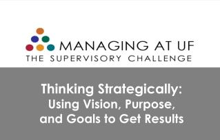 Thinking Strategically:  Using Vision, Purpose, and Goals to Get Results