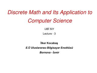 Discrete Math and Its Application to Computer Science
