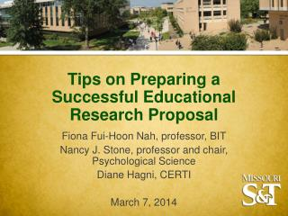 Tips on Preparing a Successful Educational Research Proposal