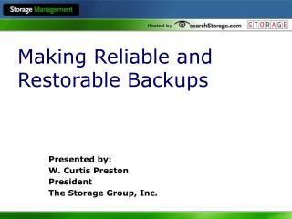 Making Reliable and Restorable Backups