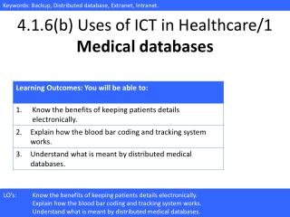4.1.6(b) Uses of ICT in Healthcare/ 1 Medical databases
