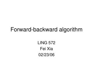 Forward-backward algorithm