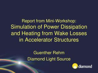 Guenther Rehm Diamond Light Source