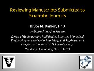 Reviewing Manuscripts Submitted to Scientific Journals