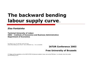 The backward bending labour supply curve (*)