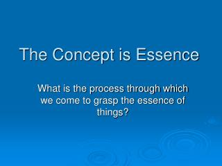 The Concept is Essence