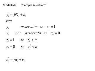 "Modelli di        ""Sample selection"""