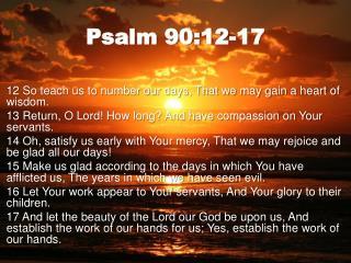 Psalm 90:12-17