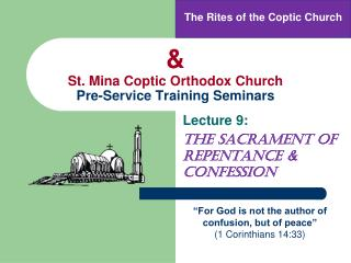 & St. Mina Coptic Orthodox Church Pre-Service Training Seminars