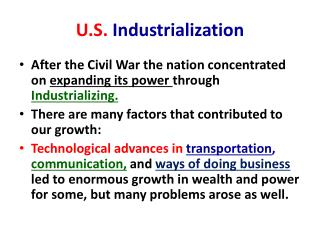 U.S.  Industrialization