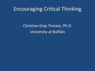 Encouraging Critical Thinking