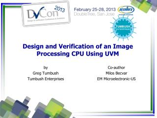 Design and Verification of an Image Processing CPU Using UVM
