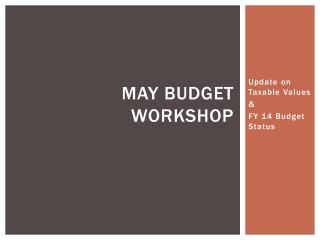 May Budget Workshop