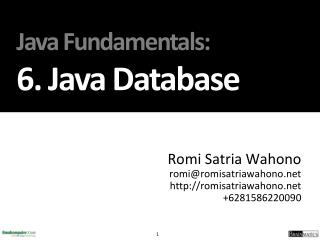 Java Fundamentals : 6. J ava Database