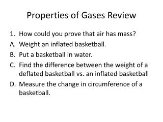Properties of Gases Review