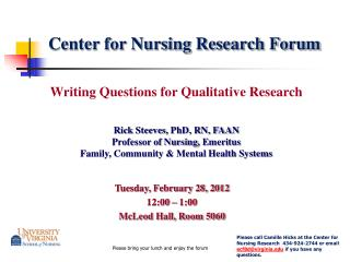 Center for Nursing Research Forum