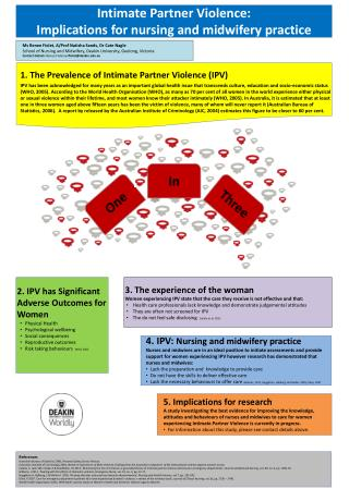 Intimate Partner Violence:  Implications for nursing and midwifery practice