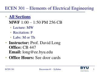 ECEN 301 – Elements of Electrical Engineering