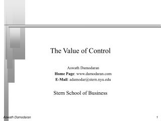 The Value of Control
