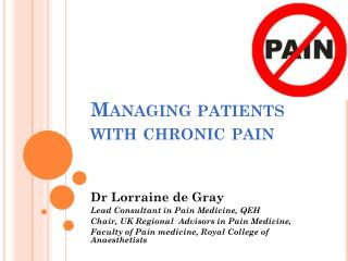 Managing patients with chronic pain