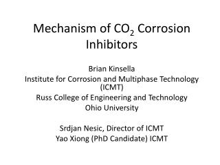 Mechanism of CO 2  Corrosion Inhibitors