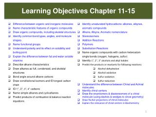 Learning Objectives Chapter 11-15