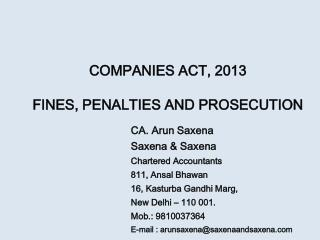 COMPANIES ACT, 2013 FINES, PENALTIES AND PROSECUTION