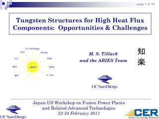 Tungsten Structures for High Heat Flux Components:  Opportunities & Challenges