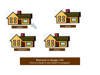 Welcome to Badger Hill. Click on a house to learn about its occupants.