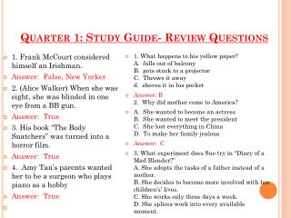 Quarter 1: Study Guide- Review Questions