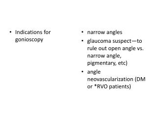 Indications for  gonioscopy