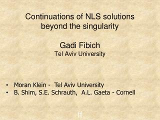 Continuations of NLS solutions beyond the singularity Gadi Fibich   Tel Aviv University ff