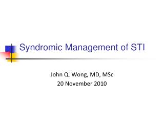 Syndromic Management of STI