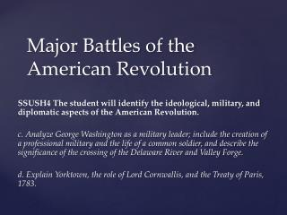 Major Battles of the American Revolution