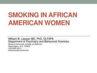 Smoking in African American Women