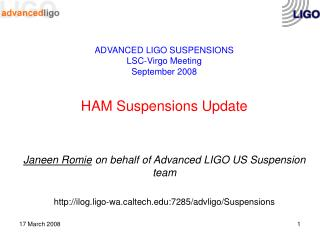 ADVANCED LIGO SUSPENSIONS LSC-Virgo Meeting  September 2008 HAM Suspensions Update