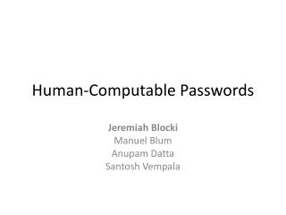 Human-Computable Passwords