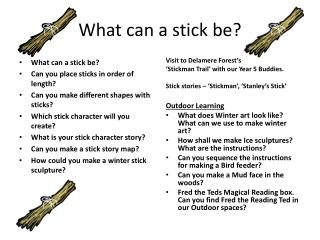 What can a stick be?