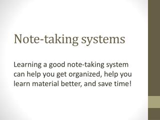 Note-taking systems