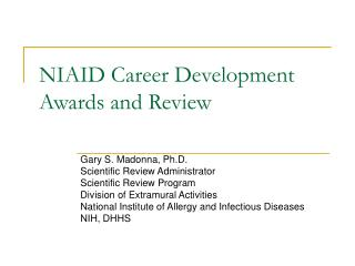 NIAID Career Development Awards and Review