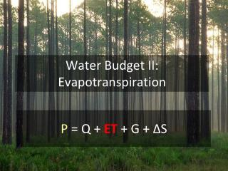 Water Budget II:  Evapotranspiration