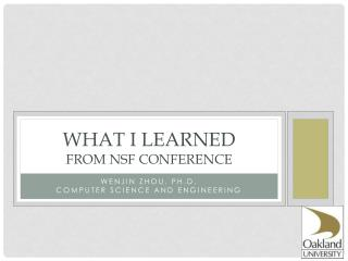 What I learned From  nsf  conference