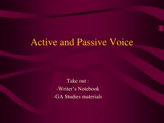 Active  Passive Active Voice Form