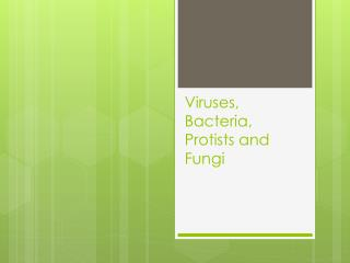 Viruses, Bacteria, Protists and Fungi