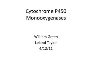 Cytochrome P450 Monooxygenases