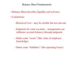 Balance Sheet Fundamentals