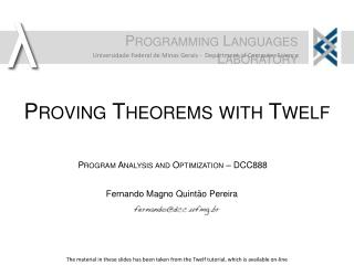 Proving Theorems with  Twelf