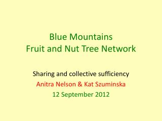Blue Mountains Fruit and Nut Tree Network