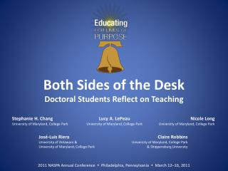 Both Sides of the Desk Doctoral Students Reflect on Teaching