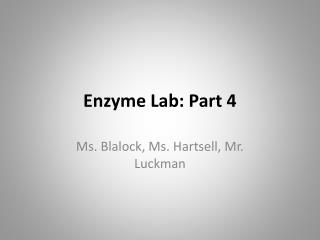 Enzyme Lab: Part 4